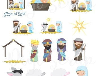 Nativity Clip Art Printable Christian Stickers for Bible Journaling or Planners. DIY Stickers.  Digital