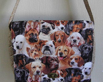 Quilted Purse,  Kentucky Crafted,  Messenger Style Purse With Dog Print Fabric