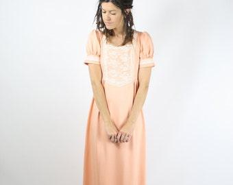 70s Bohemian Goddess Maxi Dress, Dreamy 70s boho peasant peachy lace dress, Small 4078
