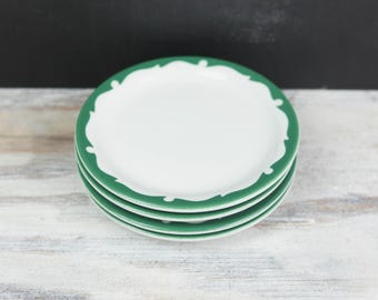 Vintage Shenango China Everglade Green, Bread and Butter Plates (set of 4)
