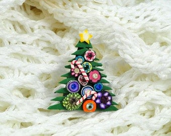Sparkly Christmas Tree Brooch, Small, Swarovski Crystals, Bright, Colorful Bling, Mille Fiori, OOAK,
