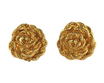 vintage 1980s TED LAPIDUS earrings / gold / clip on earrings / rope rosettes / statement earrings / costume jewelry / vintage jewelry