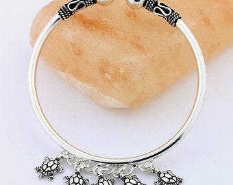 Turtle Charm Bali Style Silver Bangle Bracelet // 925 Sterling Silver // Handmade Bangle Jewelry