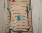 Vintage 80s Sweater, Stripes, Comfy Oversize, Medium, Unisex,