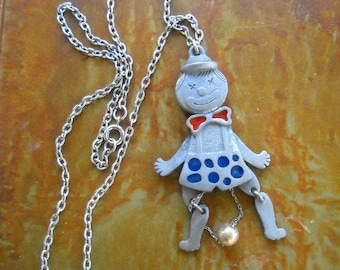 Vintage Dancing Clown Pendant, Articulated Clown Necklace, Fun Necklace, Large Silver Metal Painted Pendant, Happy Clown
