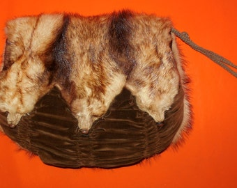 Antique Fur Muff Vintage Fur Muff 1910s 20s Fur Handwarmer Cream Fur 3 Pelts Faces Ruched Velvet Fitch Mink Edwardian Flapper Unique