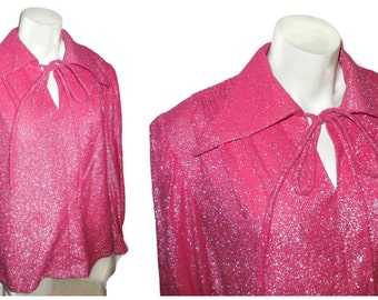 Vintage 1970s Metallic Blouse Hot Pink Disco Blouse Silver Tinsel Lurex Top Disco Fox Glitter L chest to 40 inches