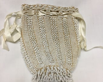 vintage white crocheted beaded purse