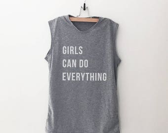 Girls can do everything workout womens graphic tank work out slogan feminist quotes womens right lgbt muscle tank top feminism fashion