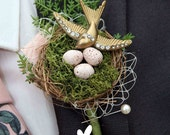 Vintage style rockabilly alternative quirky swallow birds nest buttonhole boutonnière wedding corsage shabby chic
