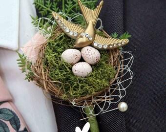 Vintage style rockabilly alternative quirky swallow birds nest buttonhole boutonnière wedding corsage shabby chic