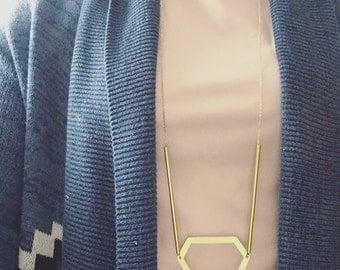 Hexagon gold necklace