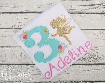 Girls Birthday Shirt - Fairy Birthday Shirt - Aqua Pink Gold Fairy Silhouette - Woodland Pixie - Appliqué Shirt - Floral - Roses - Teal