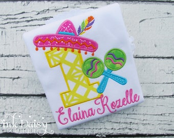 Girls Fiesta Birthday Shirt - Fiesta First Birthday - Uno - Pink Orange Yellow Green Turquoise Purple - Bright Colors - Maracas - Sombrero