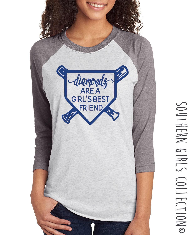 Diamonds are a girl 39 s best friend baseball raglan shirt for Best baseball t shirts