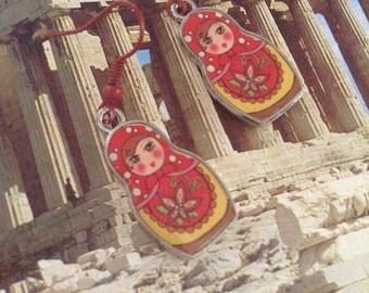 Russian Doll 'Babushka' Figure Earrings, hanging drop earrings, pierced, made in Greece