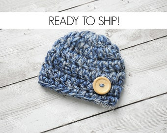 Crochet newborn baby boy hat, baby boy hat, newborn boy hat, baby shower gift, newborn photo prop, baby hat, baby boy blue hat, baby boy