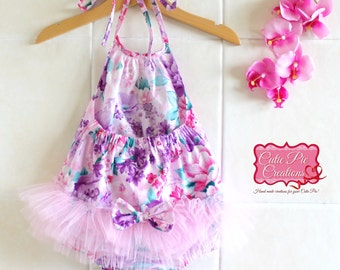 Pink Floral Tutu Romper- baby romper, baby playsuit, baby shower gift, birthday outfit , baby girl romper, tutu romper, baby outfit