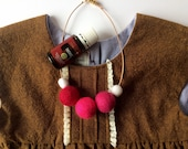 "14"" Kid's Necklace, wool felt balls, essential oil diffuser"