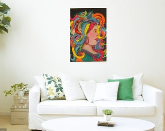 Mardi Gras Medusa, Acrylic on Stretched Canvas