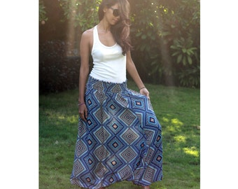 Geometric Harem Pants in Blue and Brown /Summer Long Harem Pants / Blue Maxi Skirt