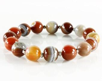 Botswana Agate bracelet, Stretchable Bracelet, orange grey gemstone, silver accents, semi-precious, natural stones, stackable, gift, 3226