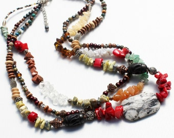 Multistone Necklace, Red Coral, Jasper, Quartz, Agate, Calcite, Wood, Seed beads, Copper, Silver plated, three strand artisan original gift