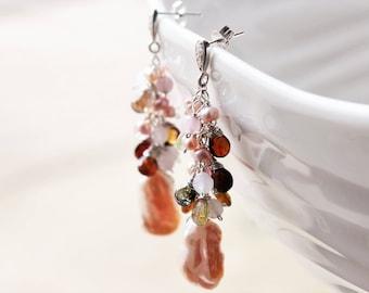 Blush Biwa Pearls Earrings, Rose Quartz, Watermelon Tourmaline, .925 Sterling Silver wire wrap, long cluster earrings, holiday gift ideas