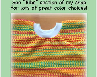 1 Towel Bib - orange stripes towel bib, girl boy - kitchen towel bib - dish towel baby bib dish towel bib