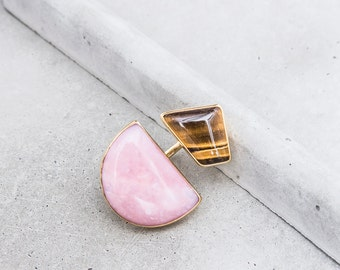 NEW / Pink Opal + Tiger Eye Double Stone Ring / modern metalwork / geometric shape / half moon statement art jewelry / OOAK / size 7-7.75