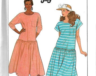 Simplicity 9043 Misses Jiffy Dropped Waist Pullover Dress Pattern, Small 10-12, UNCUT