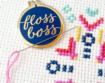 floss boss needle minder enamel pin embroidery hoop flair magnetic needle keeper
