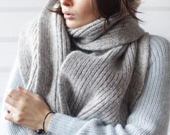 Vintage light blue grey wool alpaca knit chunky oversized unisex men women long winter wrap scarf