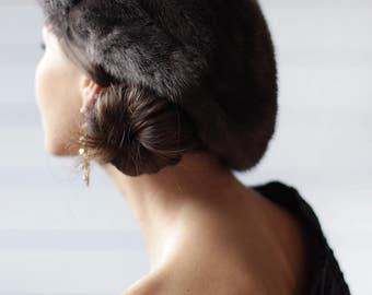 Vintage grey soft mink genuine fur round beret winter hat