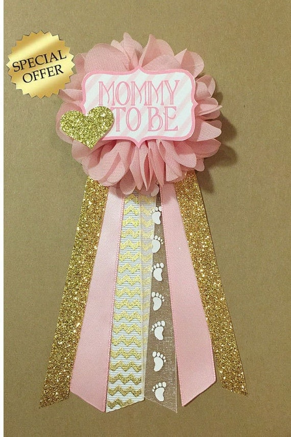 Pink And Gold Baby Shower Mommy To Be Flower Ribbon By