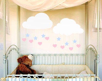 Nursery Decor White Clouds Decals with Hanging Hearts & Stars Vinyl Wall Decals, Nursery Decal, Baby Nursery, Kids Bedrooms, 616TT
