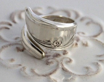 Spoon Ring - SPRINGTIME 1957 - Vintage Silverware Spoon Ring, Spoon Jewelry - Ready To Ship - Made In Usa - Size 7