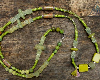 Unique necklace with prehnite, jade, howlite and peridot. Ony one SINGLE COPY