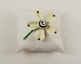 Black and White Enamel Flower Brooch