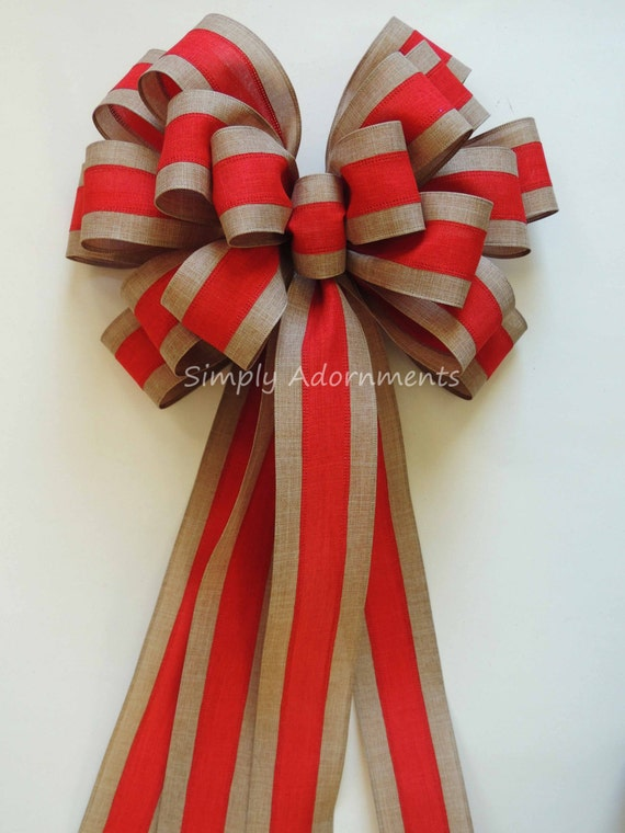 Xlarge Red Trim Burlap Christmas Bow Red Natural Burlap Topper Bow Xlarge Burlap Christmas Wreath Bow Burlap Xlarge Burlap Gift Bow