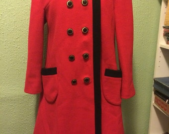 1960s Mod Red and Black Wool Coat double breasted sz s m