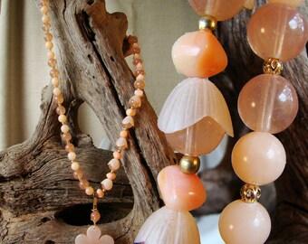 Tangerine Aventurine Garden Blossoms Necklace