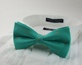 Turquoise Nautical Bowtie with Anchors - Gold Metallic -Pretied Bow Tie - Fancy Bowtie - Tuxedo - Groom - Adjustable - Pocket Square