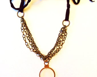 Optician's Lens Necklace with Antique Brass Chain
