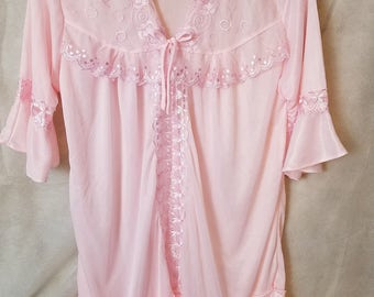 L Large Vintage Pale Pink Semi-Sheer Lingerie Cover Up Embroidered Poncho Lace Ribbons Kawaii Collar Sweet Lolita Bed Jacket Cape Capelet