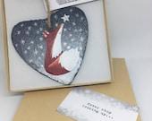 Fox Slate Heart Hanger - Gift of Love - Hand Painted - Decoration