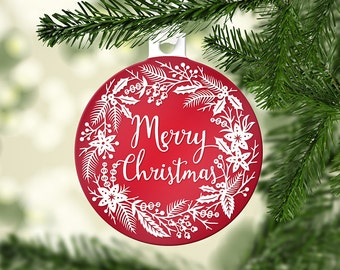 Holiday Ornaments -Merry Christmas Wreath - Christmas Decor - Papercut Illustration Ornaments