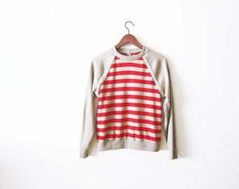 Striped Shirt / 70s Raglan Long Sleeve / Red Tan 1970s Stripe Womens Shirt sz S M