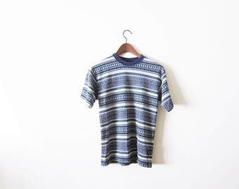 90s Shirt / Grunge Shirt / 90s Grunge T Shirt / Striped Shirt / Geometric Print / Southwestern Shirt / Grunge Clothing / Jacquard