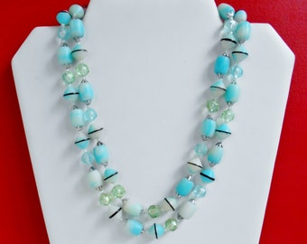 Vintage Blue Bead Necklace Double Strand, Sky Blue Pale Green Unique Signed JAPAN, Vintage Beaded Necklace With Fancy Box Clasp